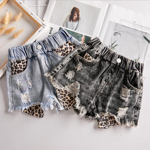 Distressed leopard shorts