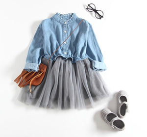 CHAMBRAY TOP WITH GRAY TULLE SKIRT