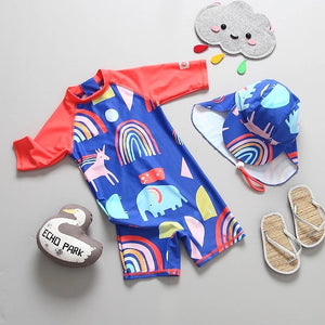 One piece rash guard unicorn swimsuit with cap