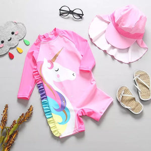 Unicorn One Piece swimwear with matching cap