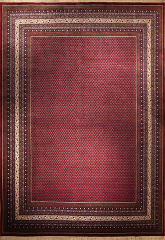 Picture of 10x14 Indo Persian Mir in Red + Grey Wool
