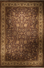 10X14 Antique Finish Brown and Beige Wool
