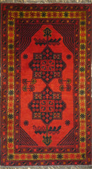 2x3 Khal Mohammadi Wool Dark Red/Blue/ Orange Ghazni Wool