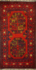 2x3 Khal Mohammadi Dark Red/Blues/ Orange Ghazni Wool