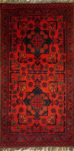 Picture of 2x3 Khal Mohammadi Wool Dark Red/Blues Ghazni Wool