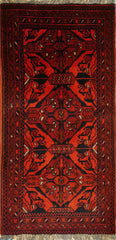 2x3 Khal Mohammadi Wool Dark Red/Blues Ghazni Wool