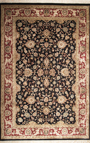 Picture of 4x6 New Isfahan Black/Burgundy Wool and Silk
