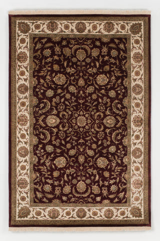 Picture of 5x7 Indo Persian Burgundy and Ivory Wool and Silk Embossed