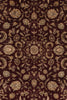 5x7 Indo Persian Burgundy and Ivory Wool and Silk Embossed