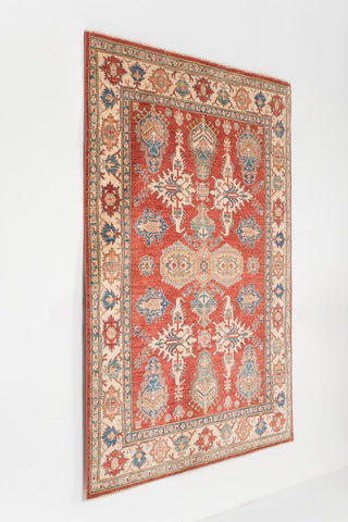 Picture of 5.09x8.07  Super Kazak Red/Ivory Ghazni Wool