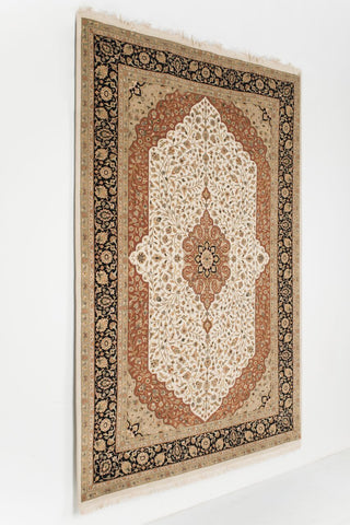 Picture of 6x9 Tabriz Beige/Black Wool & Silk