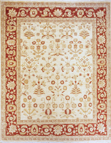 Picture of 8x10 Chobi Flower Maroon Border and Ivory Ghazni Wool