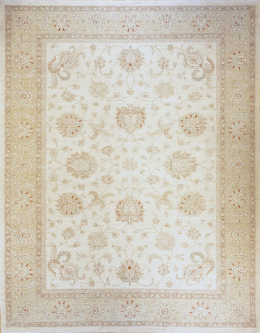 Picture of 9x12 Chobi Ivory Light Green Border Ghazni Wool