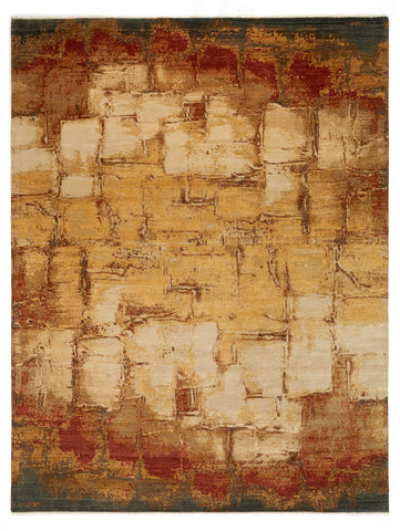Picture of 9X12 Sauvemente Red Ivory Gold Wool and Silk