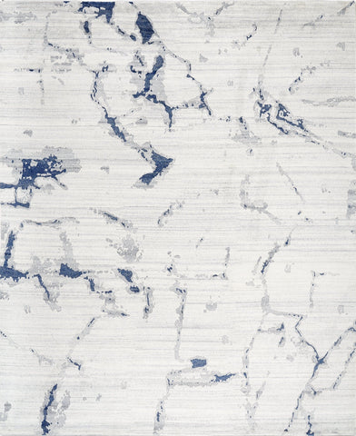 Picture of *NEW: 8x10 Marble Off White/Blue Wool and Bamboo Silk