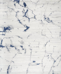 *NEW: 8x10 Marble Off White/Blue Wool and Bamboo Silk