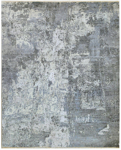 Picture of 6x9 Twilight Grey Charcoal Wool and Embossed Silk