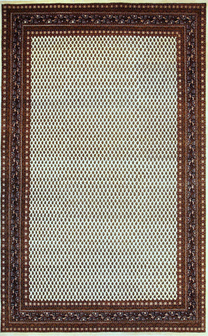Picture of 6x9 Indo Persian Mir in Cream + Black Wool with Silk Touch
