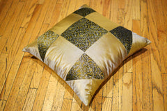 Green/Gold Polyester Cushion Cover
