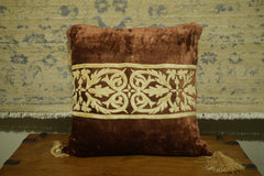 Brown/Gold Velvet Cushion