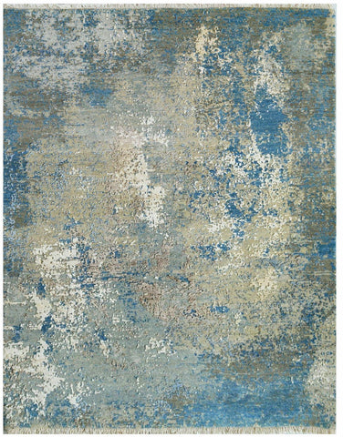 Picture of 9x12 Textures Grey Silver and Blue Wool and Embossed Silk (New)
