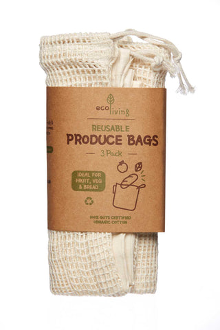 Eco Living - Organic Produce Bags & Bread Bag - 3 Pack