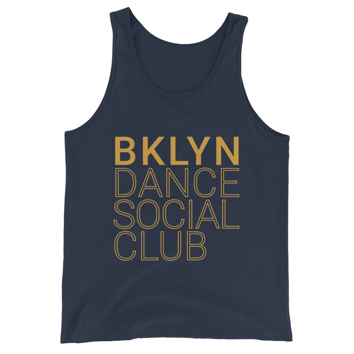 Brooklyn Dance Social Club tank top for dancers men unisex blue yellow