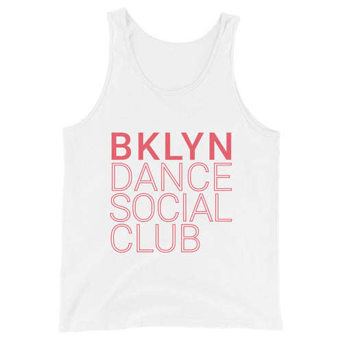 Brooklyn Dance Social Club tank top for dancers men unisex white red