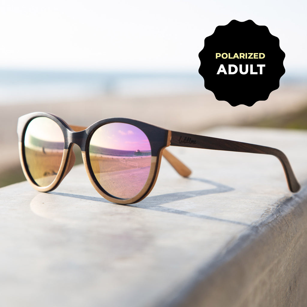 Adult Polarized 'Lunar Dream' Wooden Sunglasses, Round Pink Lenses