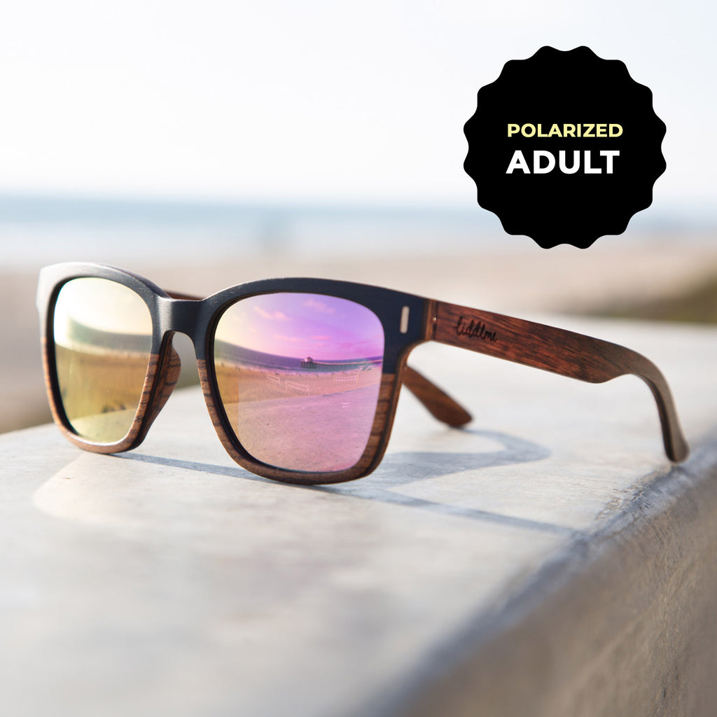 Adult Polarized 'Lunar Dream' Wooden Sunglasses, Rectangular Pink Lenses