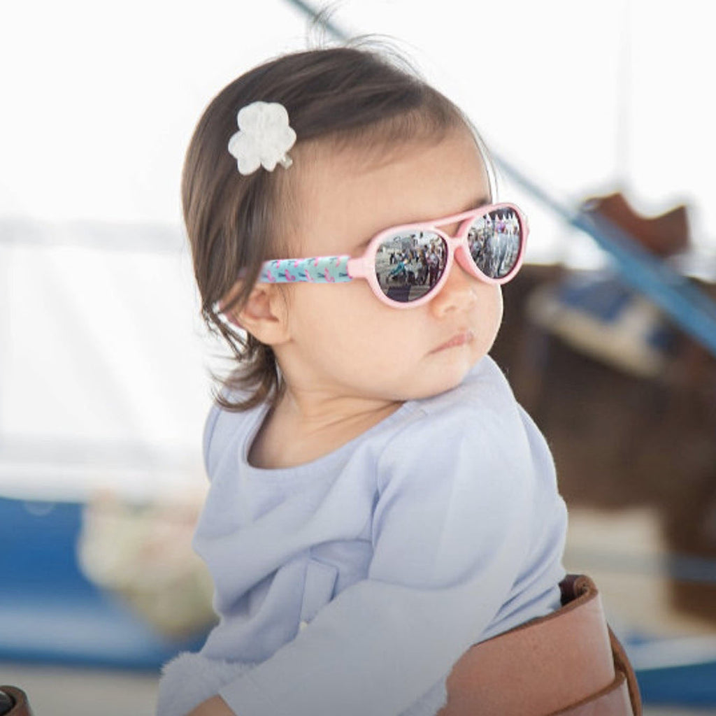 Baby Polarized Pink Sunglasses with Flamingo Strap