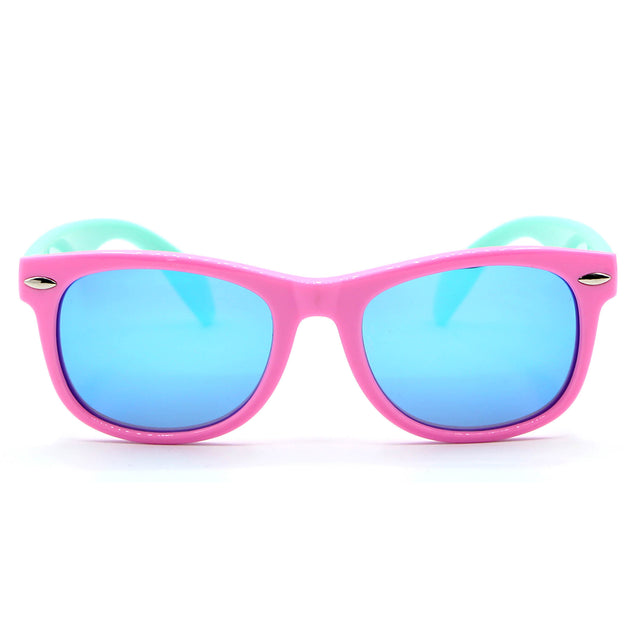 Toddler Polarized Sunglasses, Pink with Teal Strap
