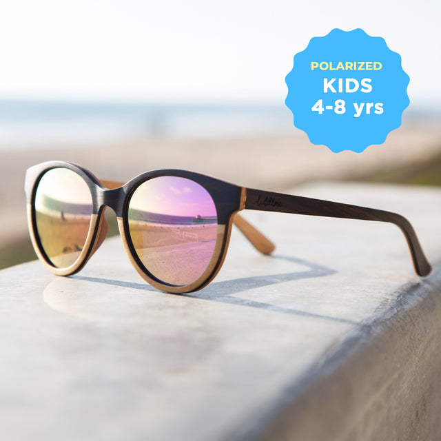 Kids Polarized 'Lunar Dream' Wooden Sunglasses, Round Pink Lenses