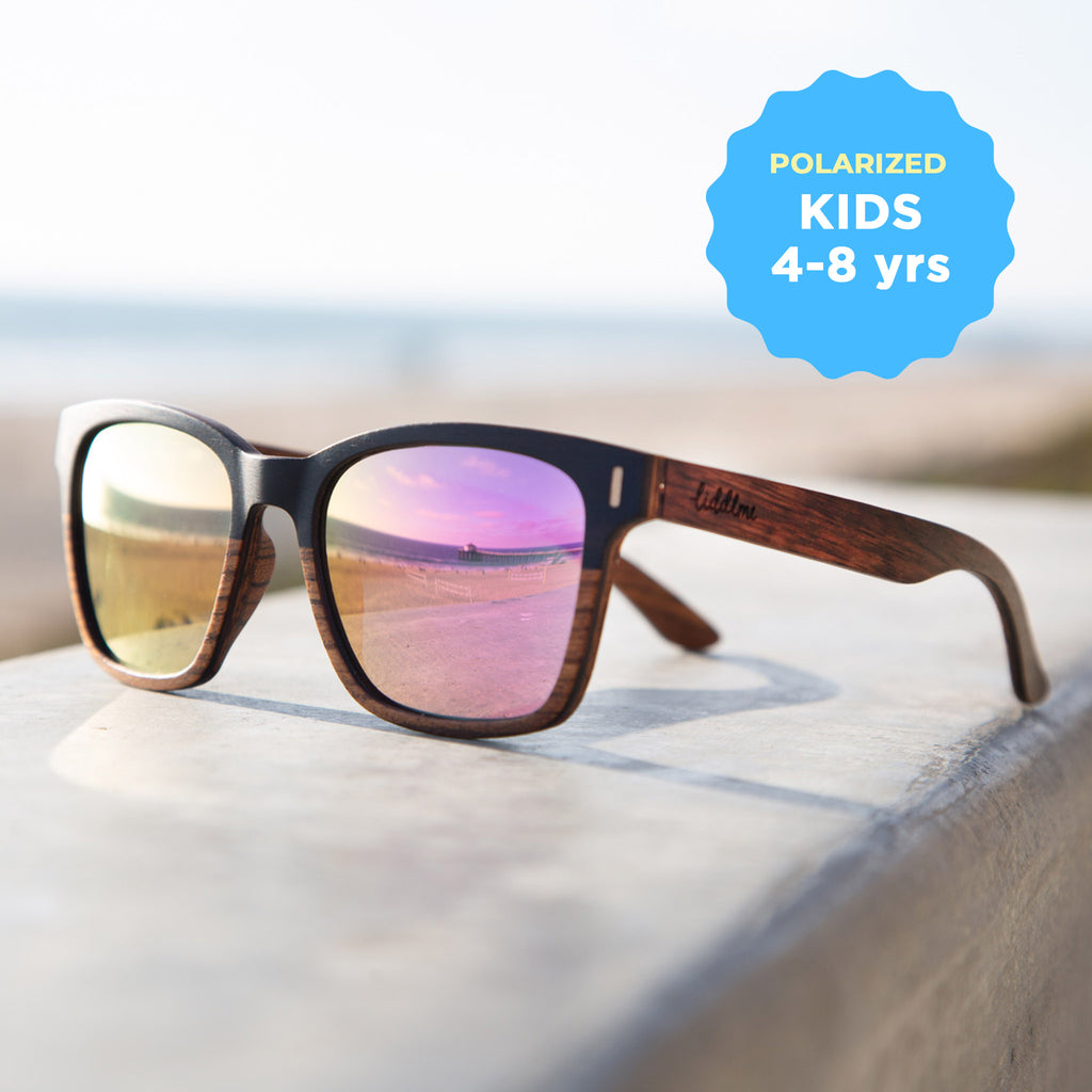 Kids Polarized 'Lunar Dream' Wooden Sunglasses, Rectangular Pink Lenses