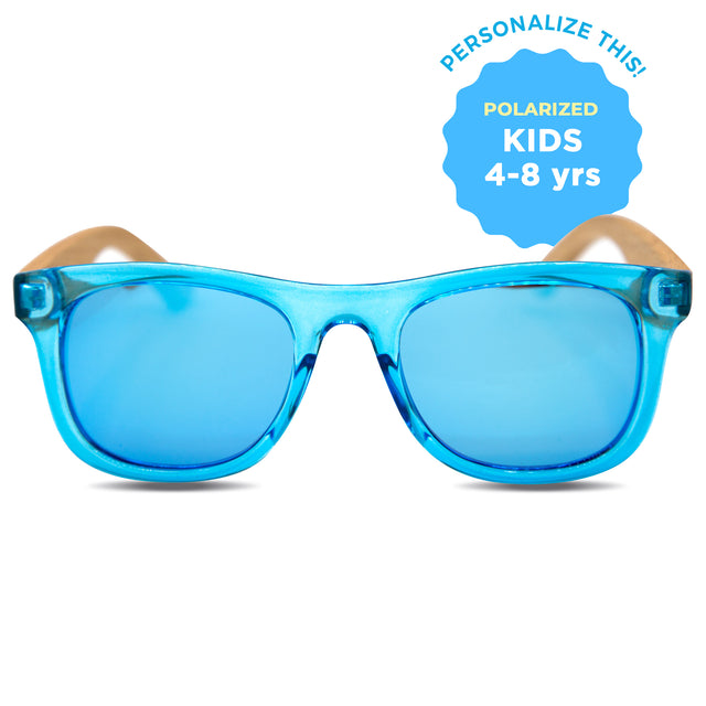 Kids Blue Polarized Wooden Sunglasses (4-8 Years)