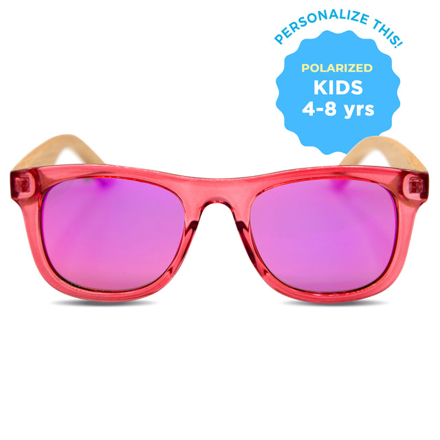 Kids Red Polarized Wooden Sunglasses (4-8 Years)