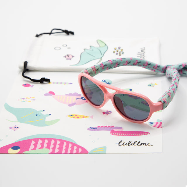 Pink Baby Polarized Sunglasses with Flamingo Strap