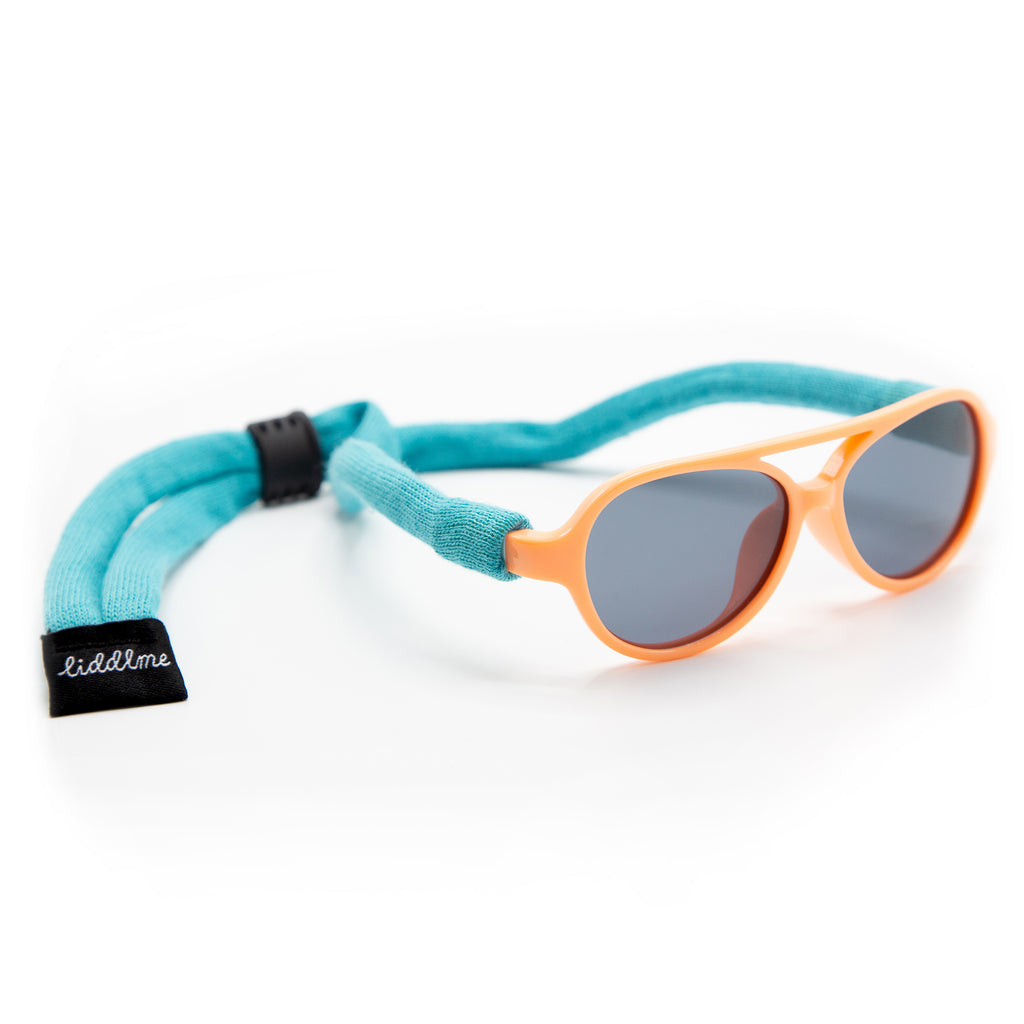 Baby Polarized Peach and Teal Sunglasses with Teal Strap