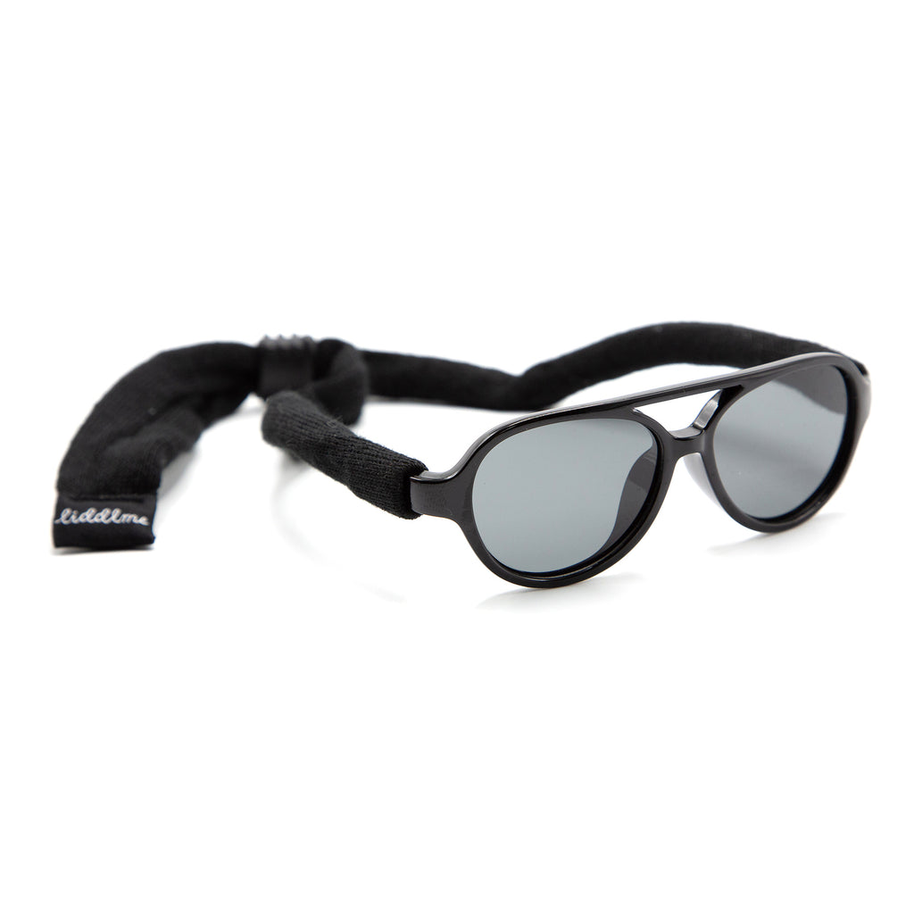 Baby Polarized Black Sunglasses with Black Strap
