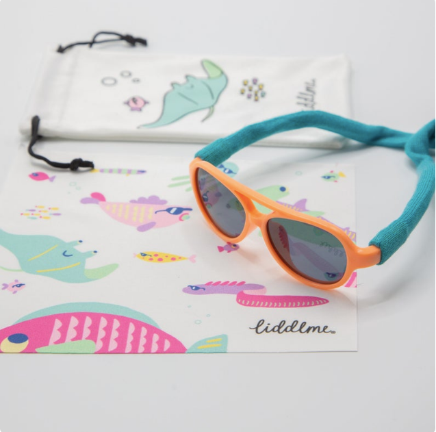 Tangerine Baby Polarized Sunglasses with Teal Strap