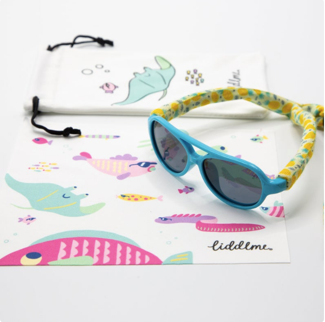 Baby Polarized Blue and Yellow Sunglasses with Pineapple Strap