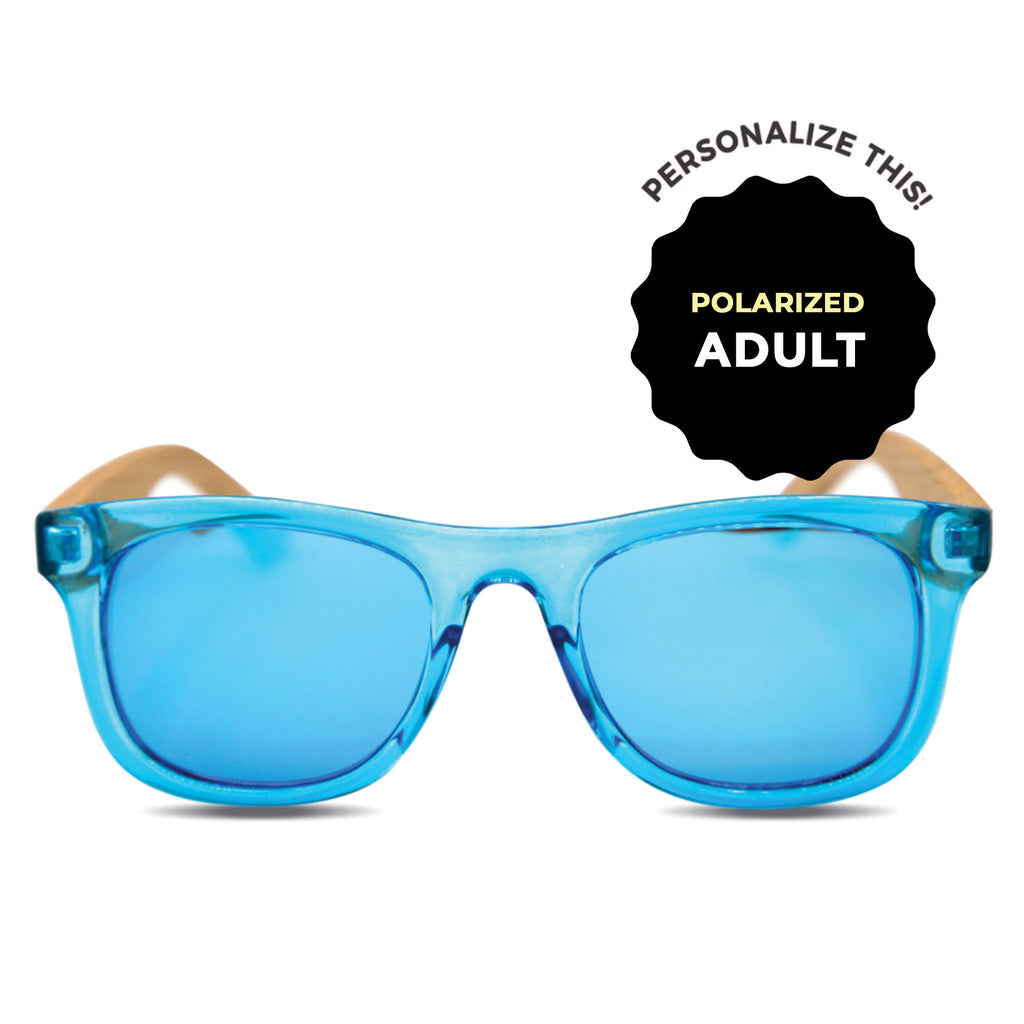 Adult Blue Polarized Wooden Sunglasses
