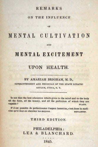 Remarks on the influence of mental cultivation and mental excitement upon health