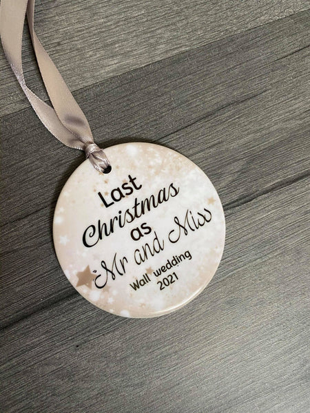 last Christmas as mr and miss ceramic bauble
