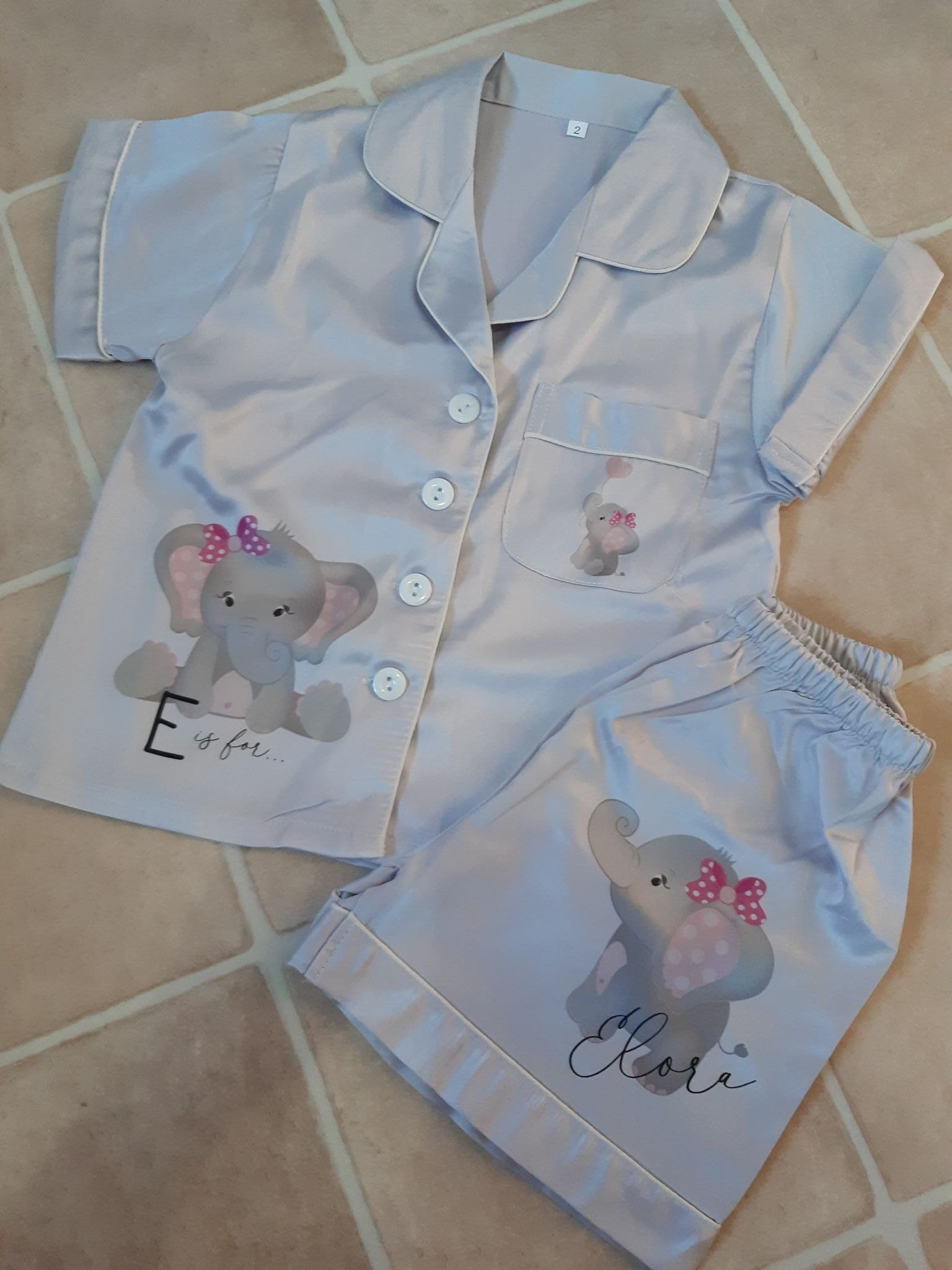 Personalised childrens elephant pjs
