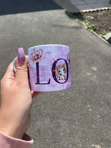 Purple, childrens name mug