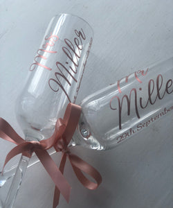 Set of two. Mr and Mrs champagne glasses
