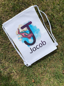 personalised dragon drawstring bag