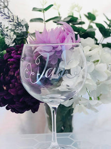 personalised named gin glass