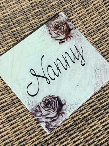 Grey rose themed name Glass chopping board